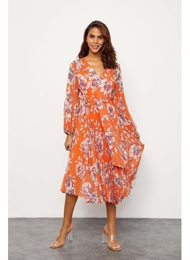 Setre Mavi V Yaka Piliseli Elbise Oranj